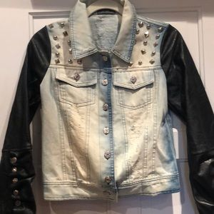 Cool faux leather jeans jacket